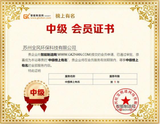 苏州全风入驻智能制造网中级榜上有名会员